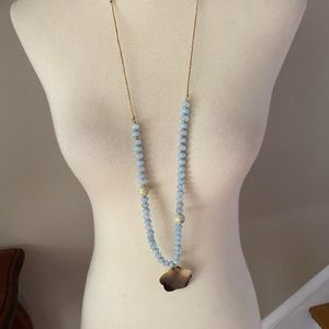 Anthropologie Blue Beaded Shell Long Necklace